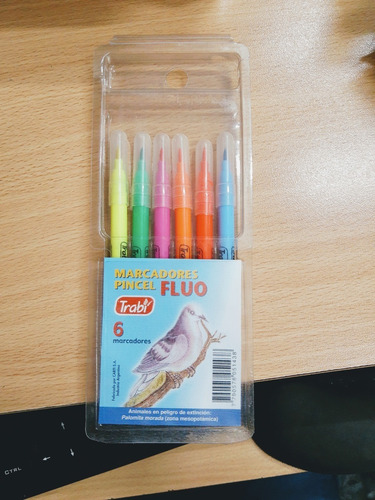 marcadores punta pincel trabi x6 fluo