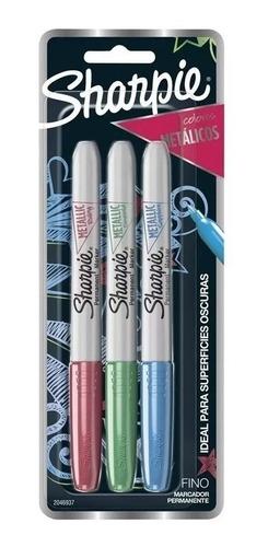 marcadores sharpie metalizado x3 azul rojo y verde