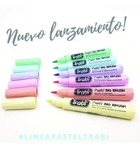 marcadores trabi big brush punta pincel 7 pastel + 1 negro!