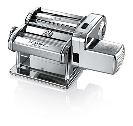 marcato atlas pasta machine with motor set, silver, 180-mil
