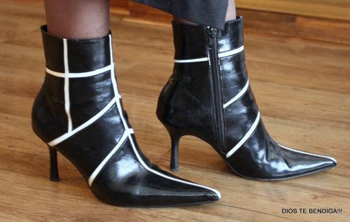 marcelo lopez botas charol botines blanco y negro 37