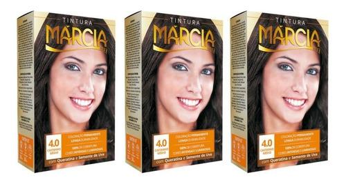 márcia tinta 4.0 castanho médio 30ml (kit c/03)