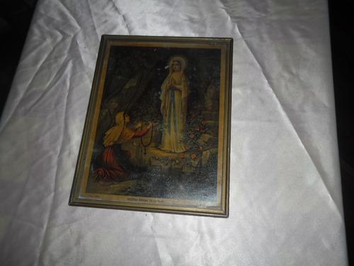 marco cuadro c vidrio virgén de lourdes antigüo 27,5 x 21,5