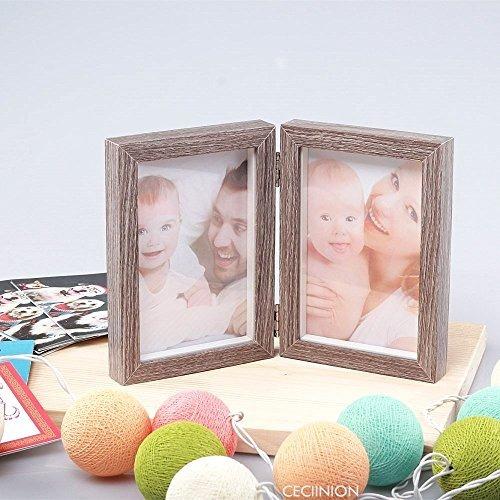 marco de fotos de madera ceciinion, marcos dobles con bisagr