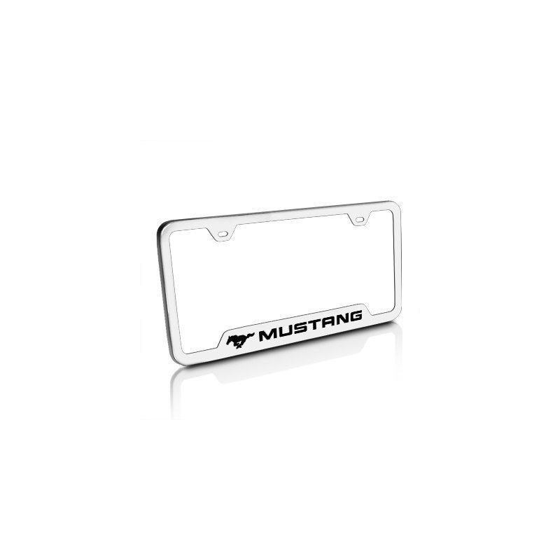 Marco De Placa De Acero Cepillado Ford Mustang, Licencia Ofi