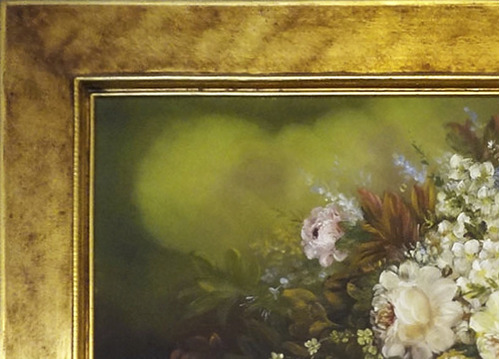 marco dorado estilo bohemio rapsodia con pintura 133x73 cm.