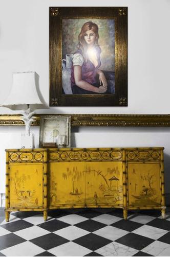 marco dorado vintage rapsodia con pintura 75x95 cm.