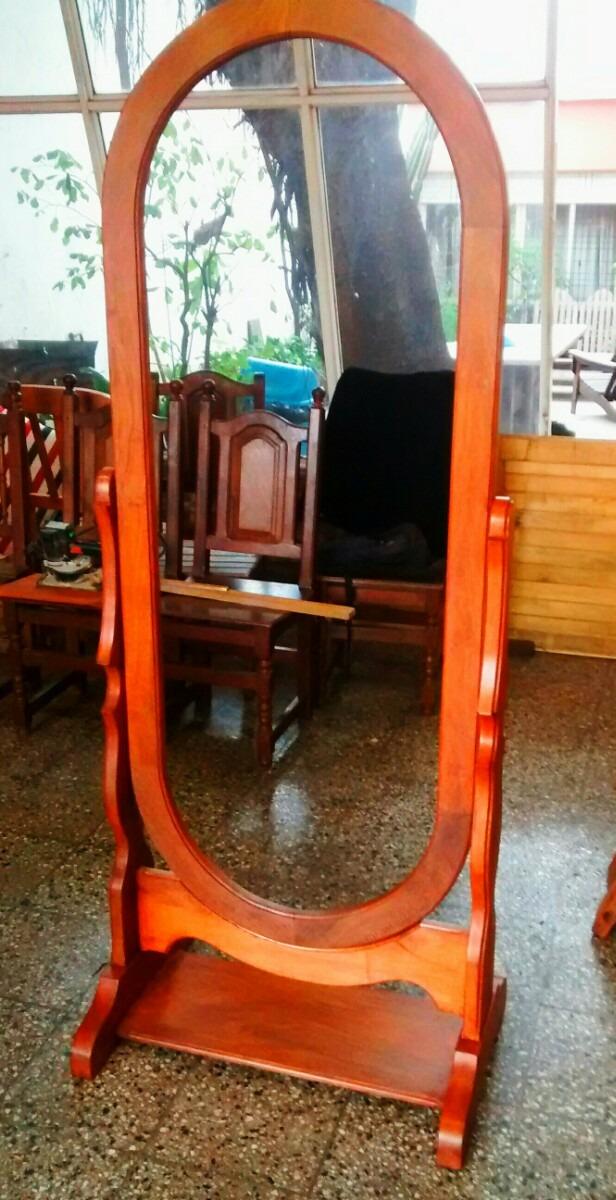 Marco Espejo Oval De Pie De Algarrobo - $ 6.900,00 en Mercado Libre