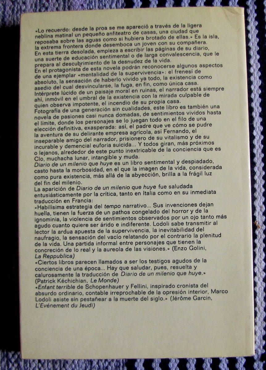 Marco Lodoli Diario De Un Milenio Que Huye Muy Buen Estado - $ 300 ...