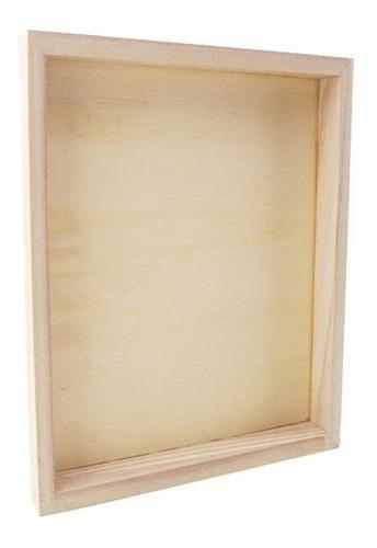 marco madera kiri box con vidrio para lámina deco 30x40cm