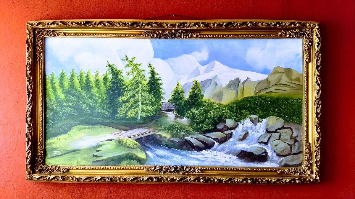 Marco Madera Oro Pintura Óleo Antiguo Paisaje Río Pino Puent ...