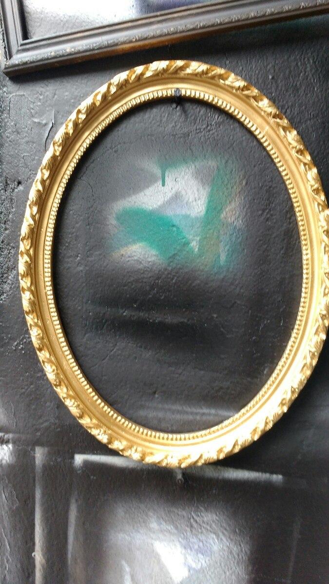 Marco Ovalado Vintage Dorado Antiguo - $ 650.00 en Mercado Libre