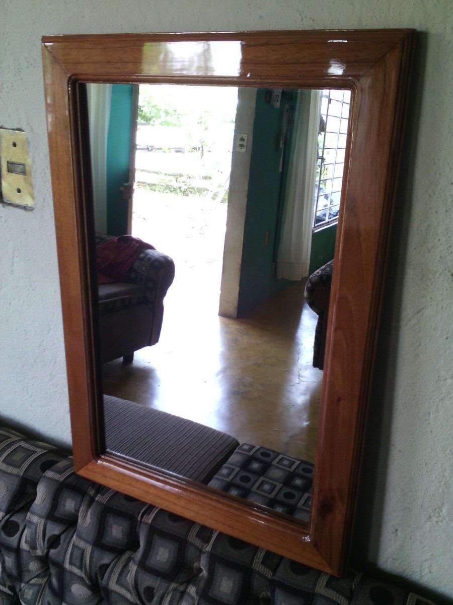 Marco para espejo en madera en mercado libre for Espejos de madera redondos