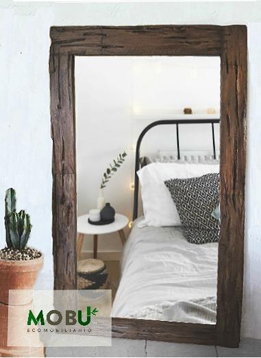 Marco para espejo grande madera vintage rustico a la for Disenos de marcos de madera para espejos