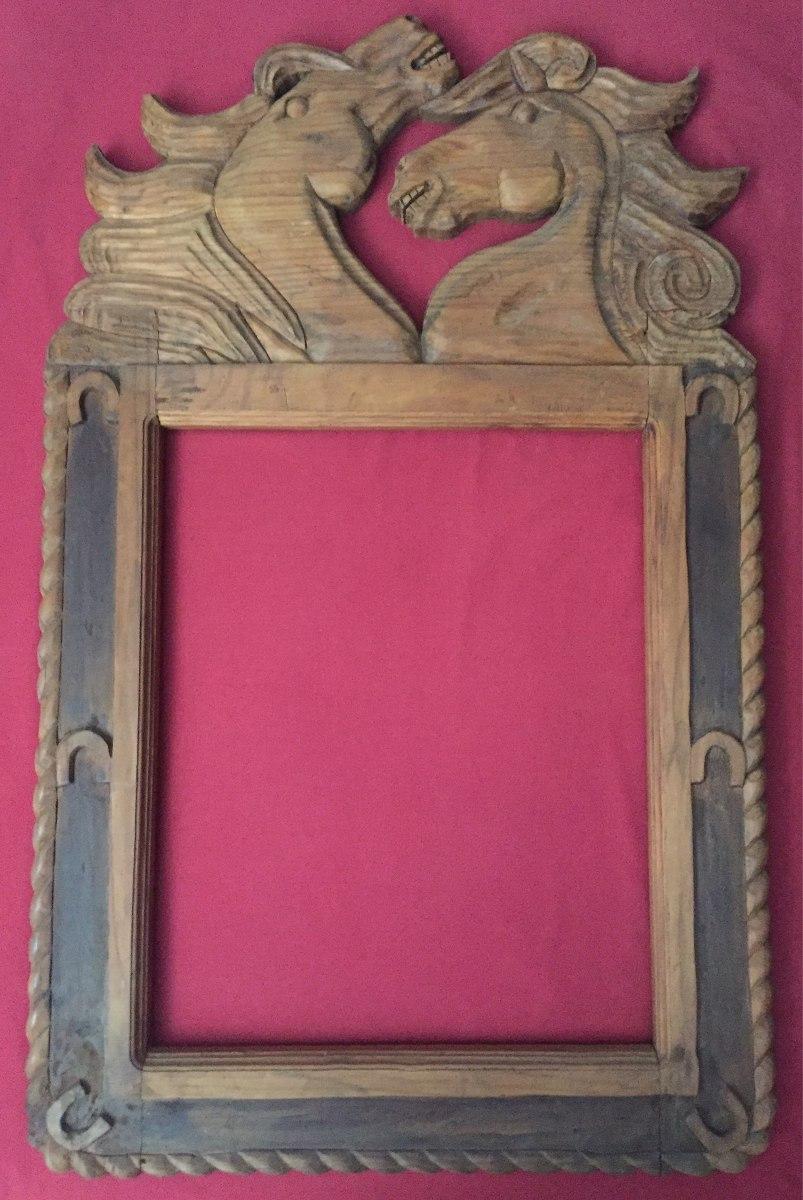 Marco para espejo mexicano tallado en madera caballos bs for Espejos de pared con marco de madera