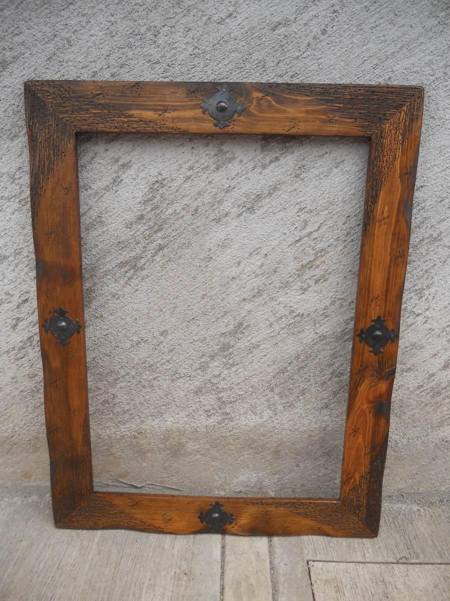 Marco para espejo r stico madera de for Espejos de pared madera