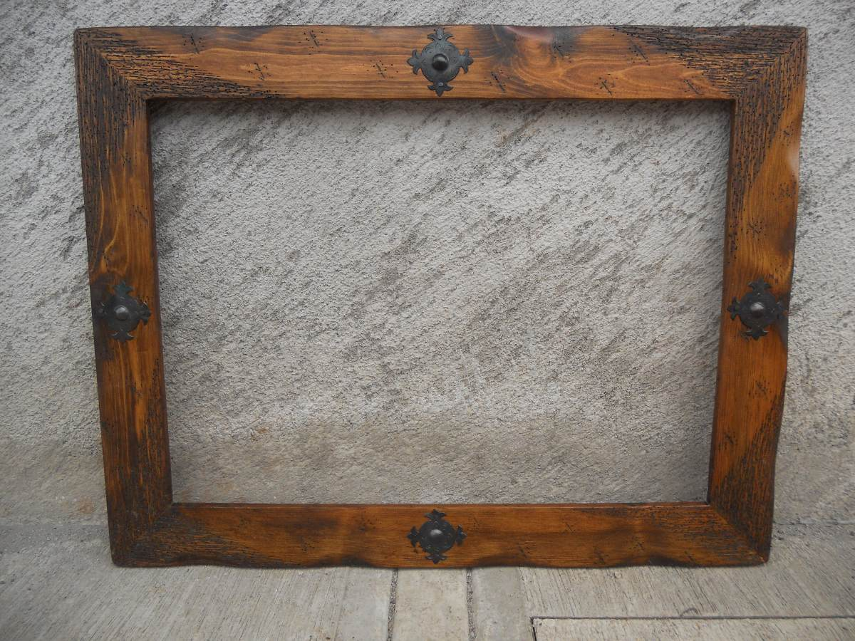 Marco para espejo r stico madera de for Espejos de pared con marco de madera
