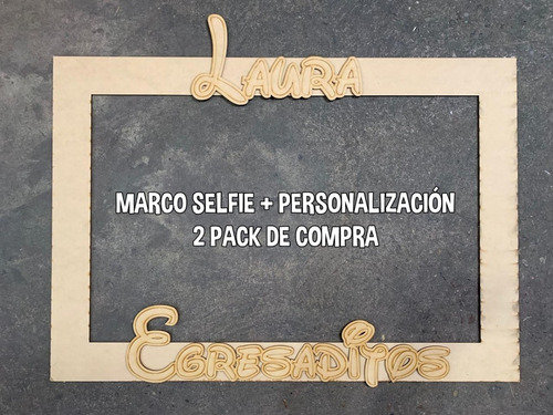 marco recto 80x60cm - selfie en fibrofacil mdf 3mm - candy