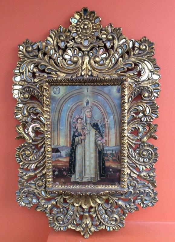 Marco Y Pintura Cusqueña Tallado Y Pan De Oro - S/ 50,00 en Mercado ...