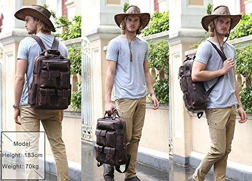 mareando hombres del clásico piel mochila de senderismo via