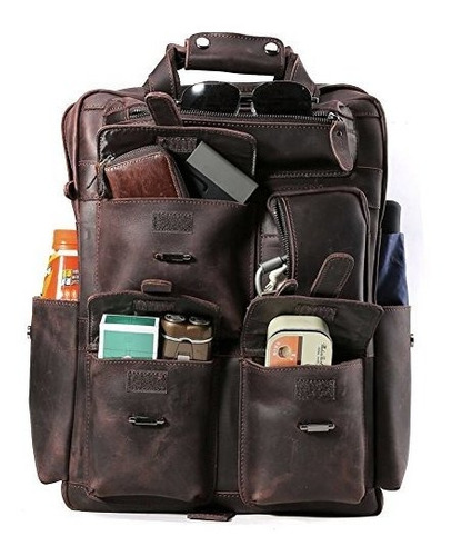 mareando hombres del clasico piel mochila de senderismo viaj