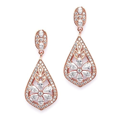 e96d4dfe15cc Mariell Cz Clip On Rose Gold Earrings Art Deco Joyas Para Bo ...
