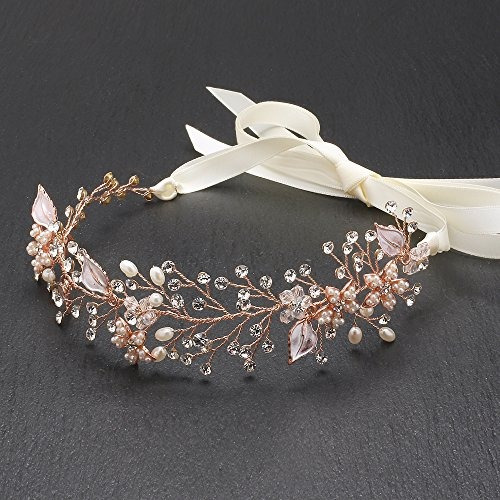 mariell rose gold freshwater pearl y crystal nupcial hair vi