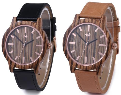 marino mens leather wooden watch - relojes de pulsera para h