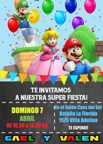 Mario Bros Tarjeta Invitación Digital Imprimible Whatsapp