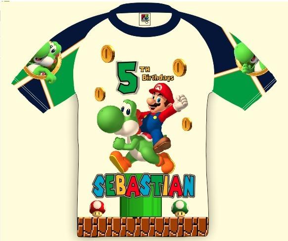 Mario Bross Yoshi Franela Personalizada Cumpleanos Fiestas Bs