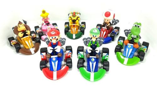 mario kart bros colección carros impulso 7 figuras mini