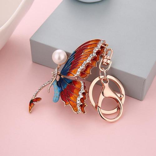 mariposa creativa mujer llavero anillos damas rhinestones
