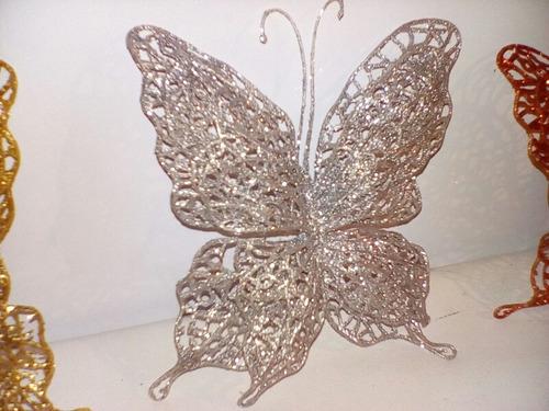 mariposa escarchada adorno de navidad para arbolito árbol
