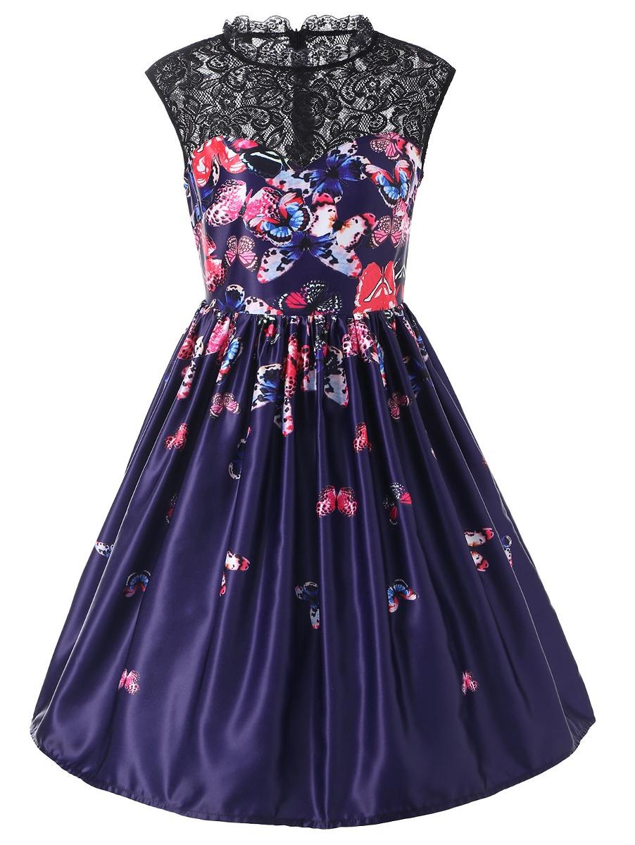 Mariposa Impreso Encaje Insertar Cóctel Vestido - $ 385.79 en ...