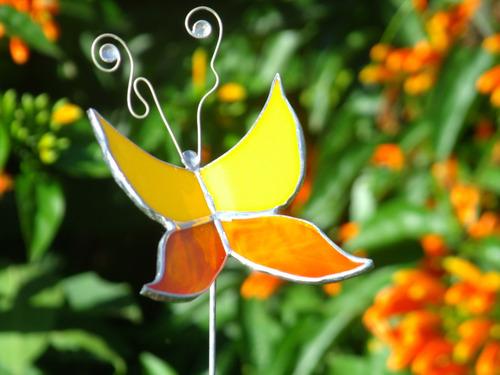 mariposa tutor adorno maceta vitraux tiffany lote x 10