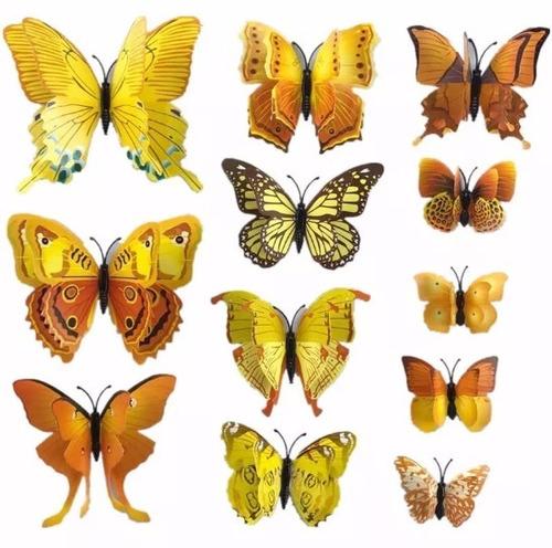 mariposas 3d para decoración refrigerador pared | 12 piezas