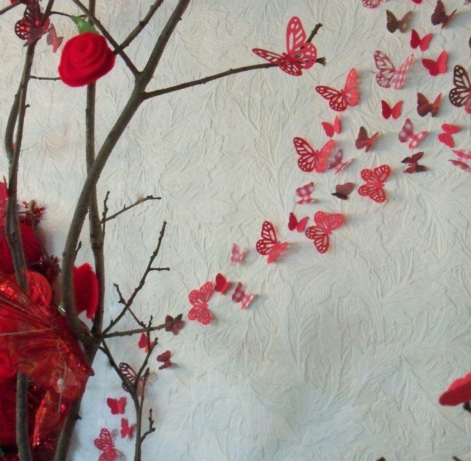 Mariposas Decoraci N Pared Dormitorio Cartulina Papel X 35  ~ Papel De Decoracion Para Paredes