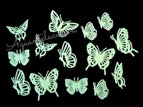 mariposas o estrellas fluorescente brillan en oscuridad 12u