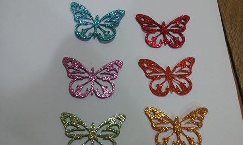Mariposas Troqueladas De Goma Eva Con Glitter - $ 50,00 en Mercado Libre