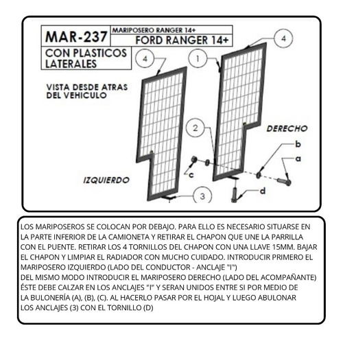 mariposero reforzado ranger 2014+ original bracco