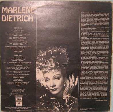 marlene dietrich - con plunas volume 7 - 1982 lp importado