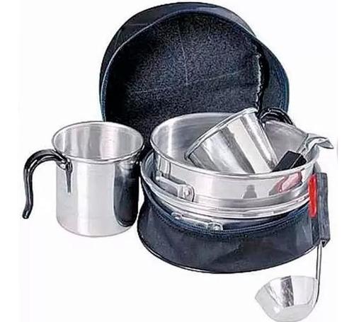 marmita brogas set cocina 2 pers camping 8 piezas con bolso