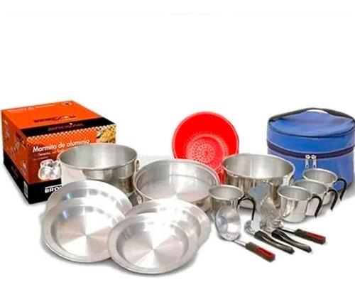 marmita brogas set cocina 4 pers camping 17 piezas con bolso