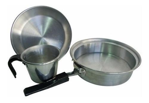 marmita brogas set de cocina para camping 4 piezas con bolso