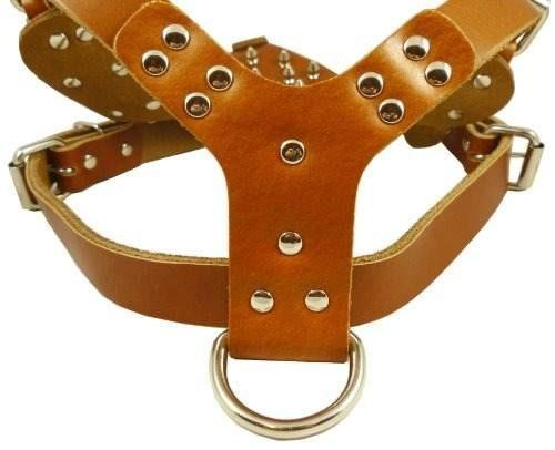 marrón cuero claveteado perro arnés grande 26 -33.5
