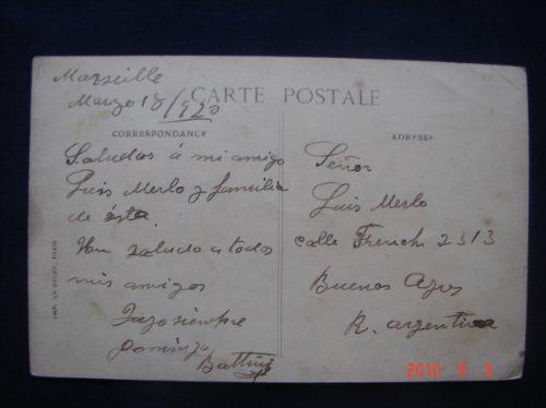 marsella. palacio  longchamps.  antigua postal.