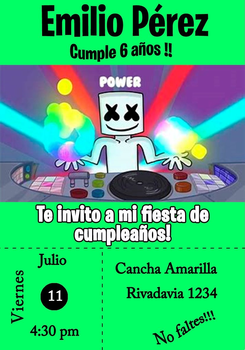 Marshmello Tarjeta Invitacion Digital Fortnite