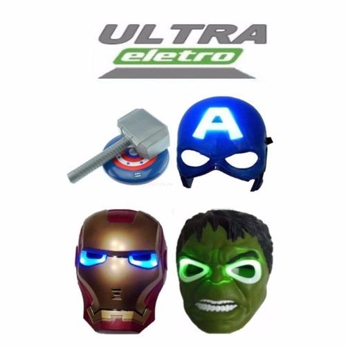 martelo escudo máscara capitão américa hulk e homem de ferro