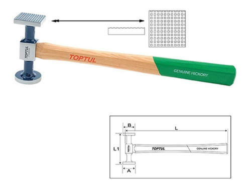 martelo leve reduzido face plana 330mm funilaria uso diario