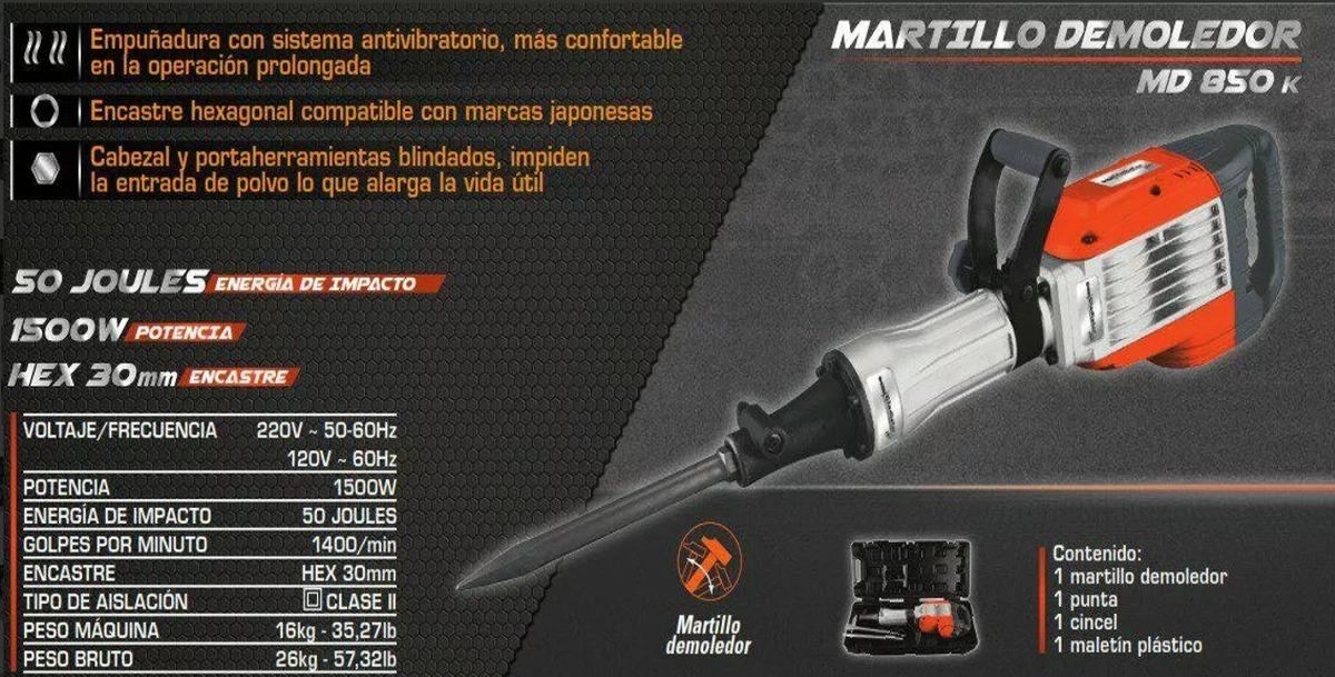 Martillo Demoledor 1500w Marca Gladiator Modelo Md 850k - U$S 310,00 ...